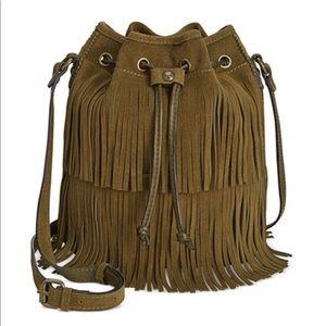 Bronze Fringe Bucket Bag